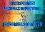 INSCRIPCIONES ESCUELAS DEPORTIVAS (TEMPORADA 2019-2020)